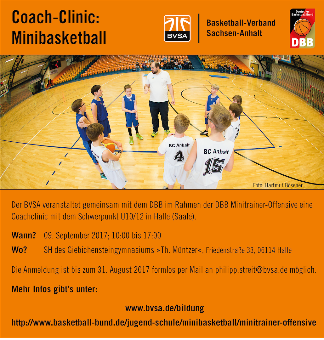 Save the Date zur BVSA Coach Clinic: Minibasketball // Collage: BVSA // Foto: Hartmut Bösener